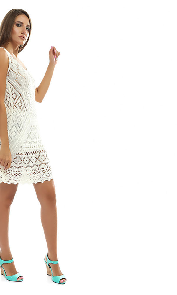 Perforated Slip On Tunic Top - Off White