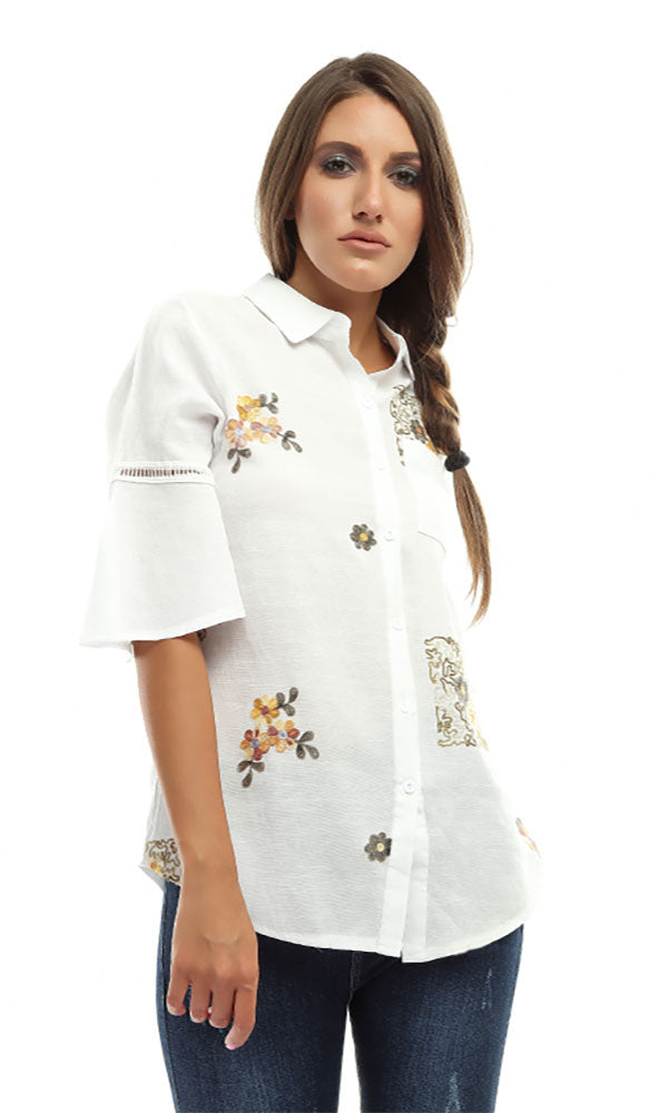 Beautiful Half Sleeves Floral Shirt - White