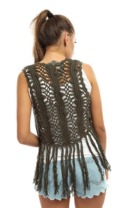 49018 Fringes Perforated Cropped Vest - Olive