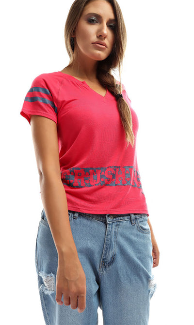 49028 Printed Casual Top - Fuchsia