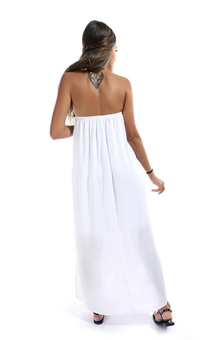 49044 Crochet Decorated Maxi Dress - White