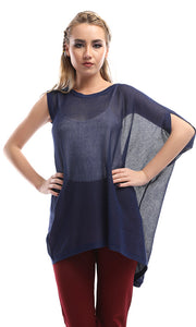 49071 Perforated Solid Stylish Top - Navy Blue