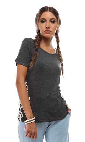 49095 Casual Decorated Top - Grey