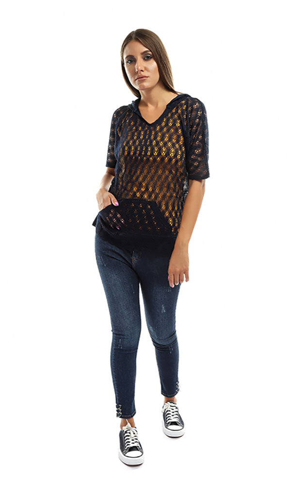 Perforated Casual Women Top - Navy Blue