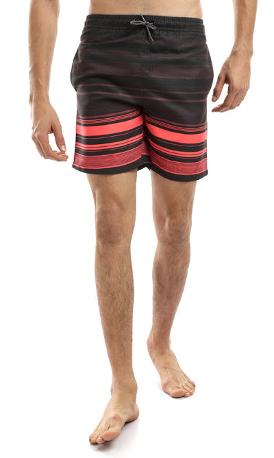 49125 Elastic Printed Summer Swim Short - Black & Orange