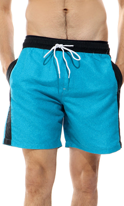 49126 Heather Turquoise Slip On Swim Short