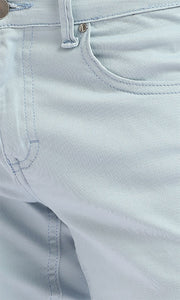 Stitched Front Pockets Solid Short - Baby Blue
