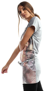 Printed Tunic Top With Bow Belt - Multicolour