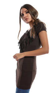 Fringe BodyCon Shirt - Brown