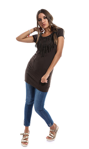49151 Fringe BodyCon Shirt - Brown