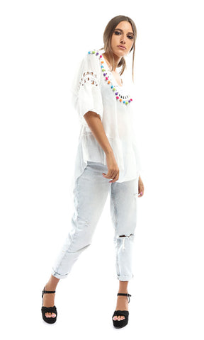49161 Long Sleeves Bloo-White