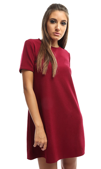 49163 Solid Women Short Dress - Maroon