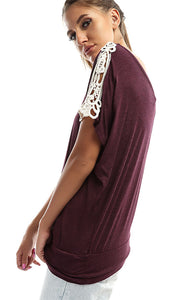 49182 Plain Elegant Top-Burguny