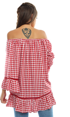 49186 Checkered Flair Sleeves Top - Red
