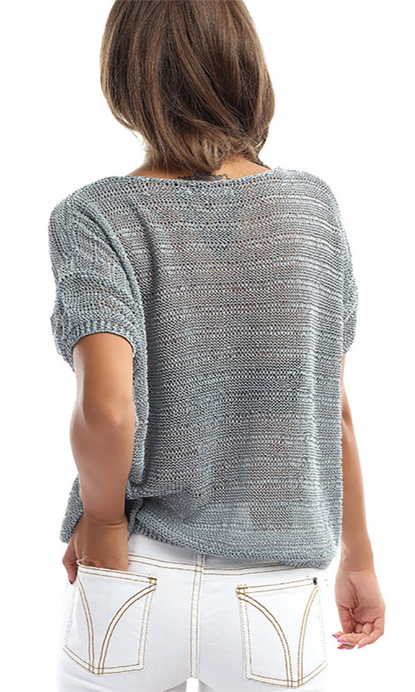 Knitted Short Sleeves Top -Grey