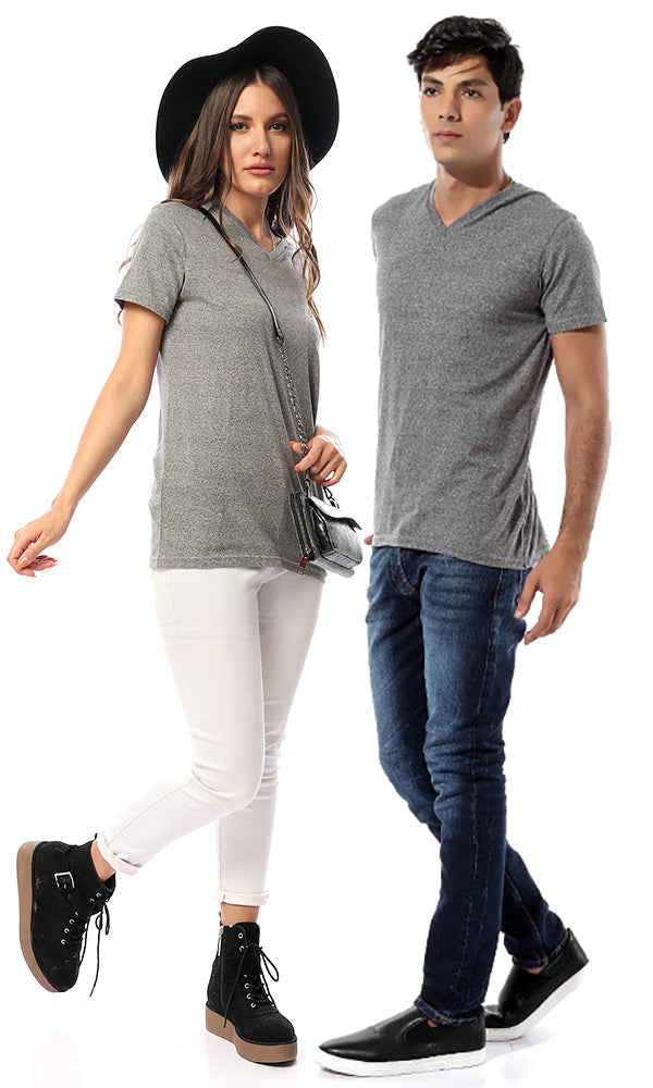 V-Neck Solid Men T-shirt - Grey