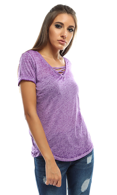 49208 Washed Short Sleeves T-Shirt - Purple