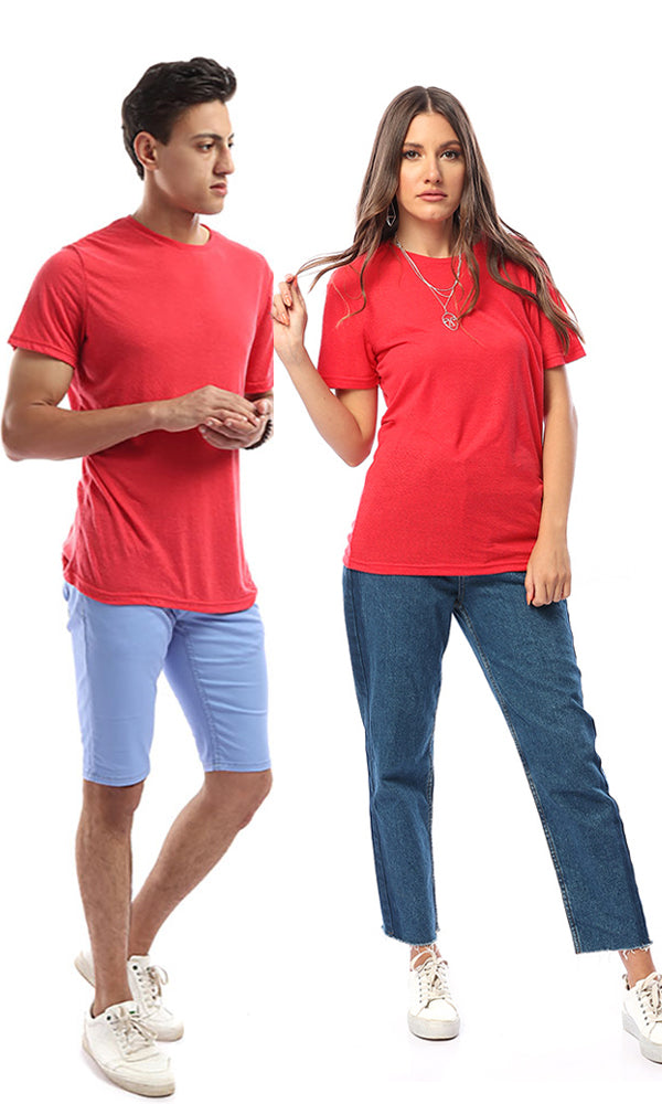 Rounded Plain Short Sleeves Tee - Red