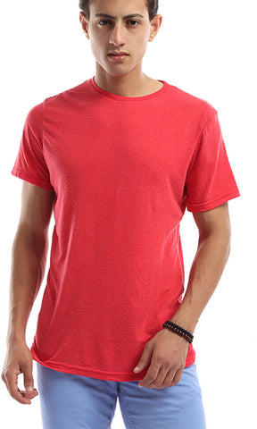 49233 Rounded Plain Short Sleeves Basic Tee - Red