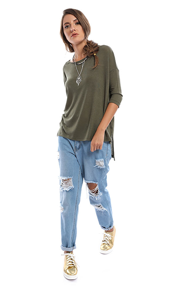 Zip To My Lou Rusty Olive Sweater Top