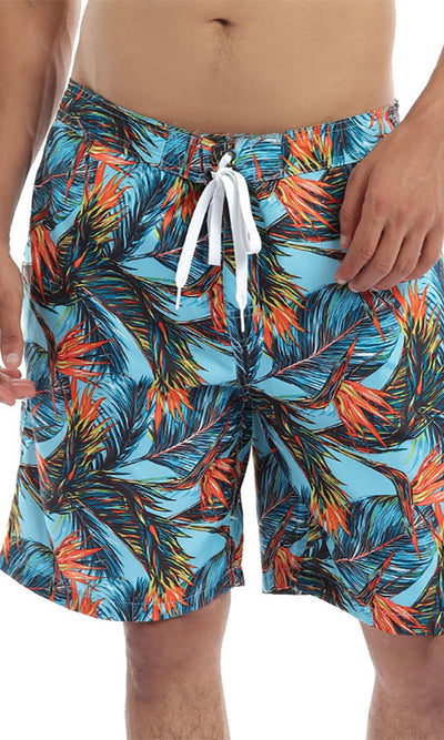 49254 Hawaiian Tropical Orange & Blue Swim Shorts