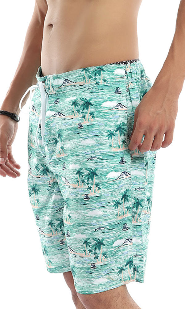Sandy Floral Pastel Green Swimshorts