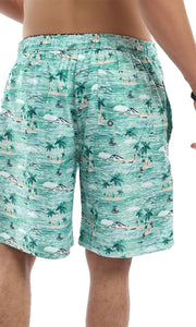 49256 Sandy Floral Pastel Green Swimshorts