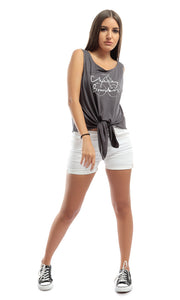 49267 Knot To Mention Dark Grey Knotted Tee