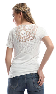 Cutie Off-White Top With Back Lace