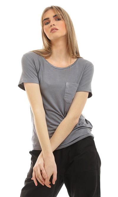 49275 Basic Round Collar Heather Dark Grey Tee