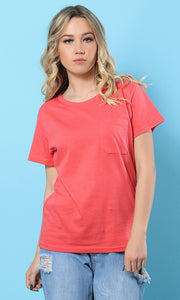 49278 The Softest Watermelon Round - Neck Basic Tee