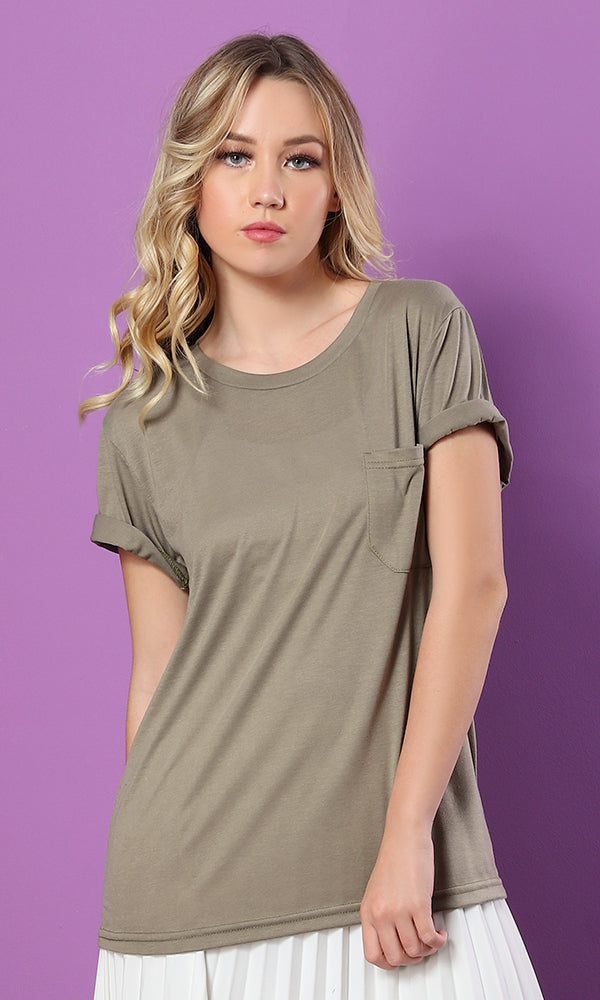 The Softest Olive Green Round - Neck Tee