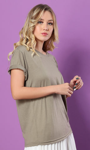 49283 The Softest Olive Green Round - Neck Basic Tee