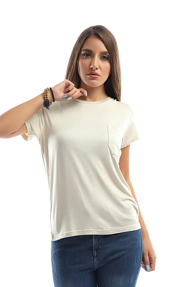 The Softest Light Beige Round - Neck Tee