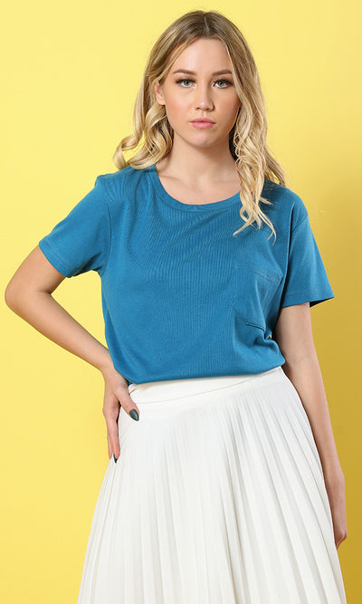 49286 The Softest Dark Blue Round - Neck Basic Tee