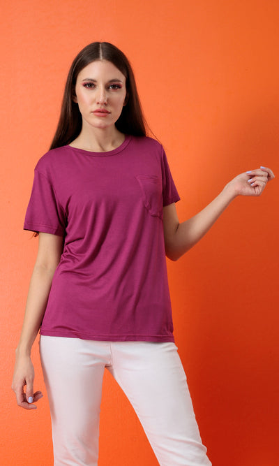 49289 The Softest Magenta Basic Round Neck Tee