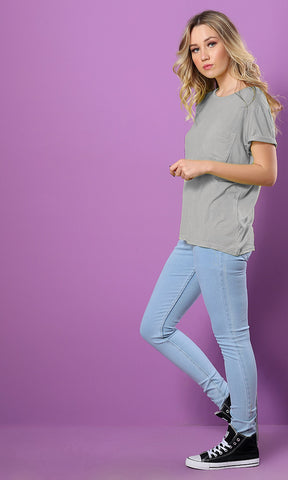 49290 Solid Light Grey Basic Tee With Casual Pocket