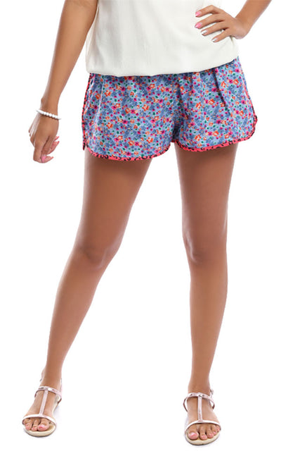49293 Check Me Out Blue Floral Print Shorts