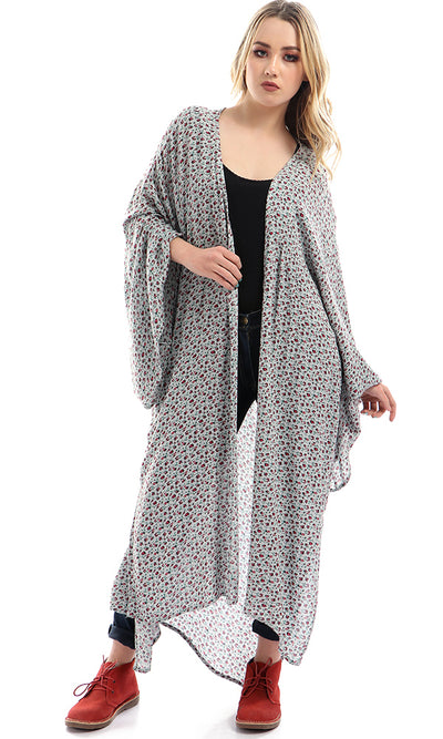 49302 High Low Side Long Floral Cardigan - Multicolour