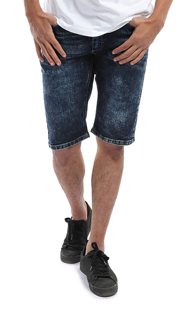 Casual Washed Dark Blue Jeans Short