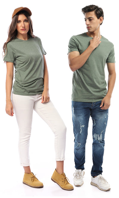 49317 Solid Short Sleeves Basic Olive Tee