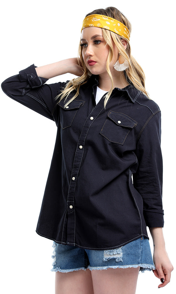 Pearl Snaps Buttoned Solid Casual Shirt - Dark Navy Blue