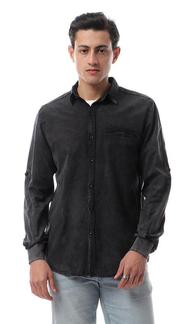49352 Casual Full Sleeves Washed Shirt - Black - Ravin