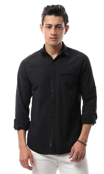 49354 Stylish Buttoned Casual Black Shirt - Ravin
