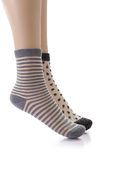 49506 Set Of 2 Glittery Cheer Ankle Socks - Black & Grey - Ravin