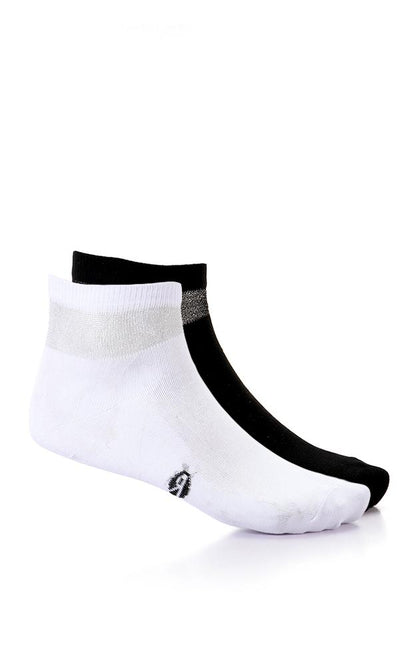 49509 Set Of 2 Glittery Neck Low Cut Socks - Black & White - Ravin