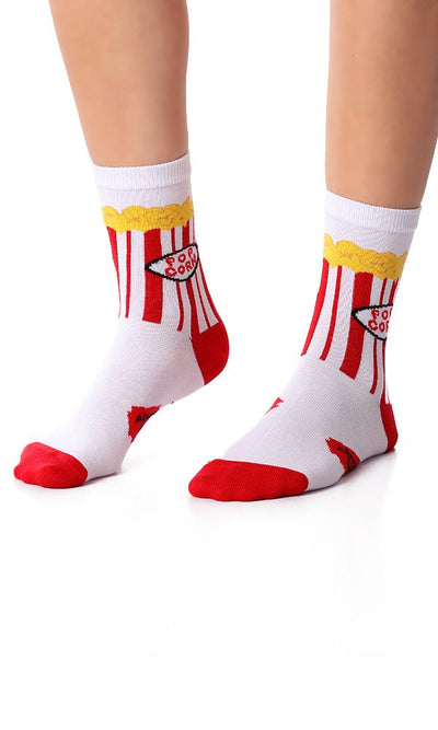49510 Popcorn Printed Ankle Socks - White & Red - Ravin
