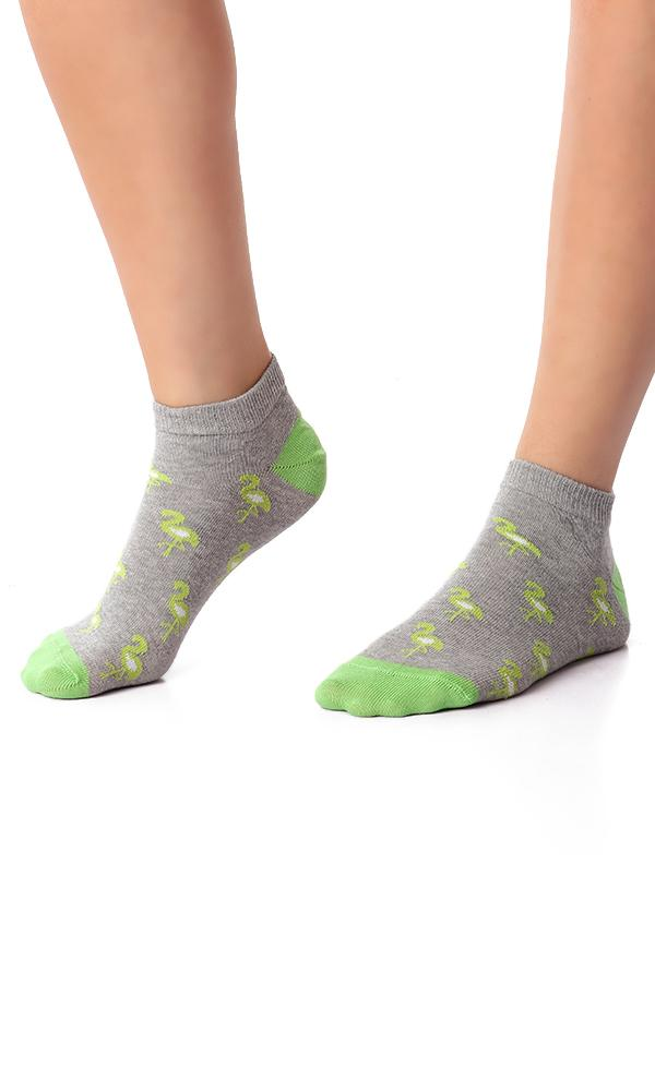 49514 Green Flamingo Printed Liner Socks - Heather Grey - Ravin