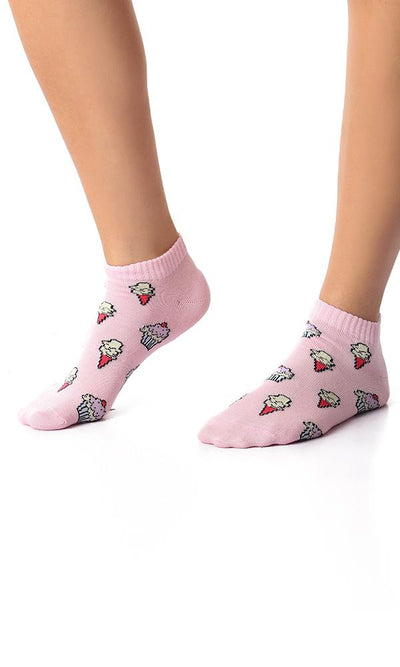 49517 Ice Cream Slip On Liner Socks - Rose - Ravin