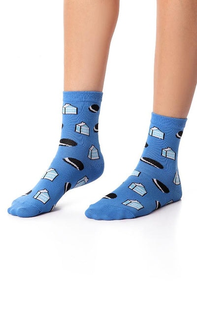 49519 Milk & Oreo Printed Ankle Socks - White - Ravin